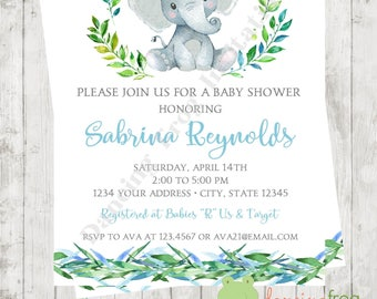 """Custom Printed 4.25X5.5"""" Watercolor Elephant Baby Shower Invitations, envelopes included"""