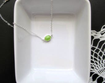 Lyme Disease Necklace - Minimalist Silver and Lime Pendant - Rising Above Lyme Awareness Support Encouragement Jewelry  - Katya Valera