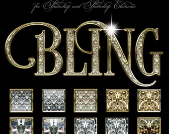 Photoshop Layer Styles - Designer Gems - BLING - 1 Photoshop Style file (.ASL) containing 10 unique Styles to add to your Text.