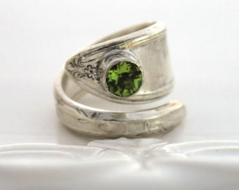 Spoon Ring with PERIDOT Gemstone ~ ROSEMARY 1919 ~ Vintage Silverware Spoon Ring, Spoon Jewelry - Ready To Ship - Made In Usa - Size 6
