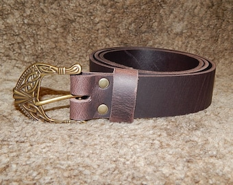 Quality 9 oz buffalo leather belt with celtic buckle. Black or brown. All hand-made