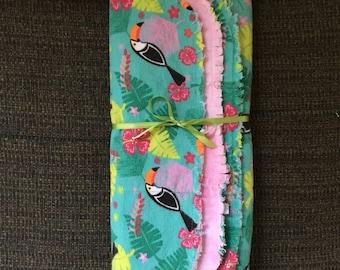 Set Of 3 flannel burp cloths - Toucan
