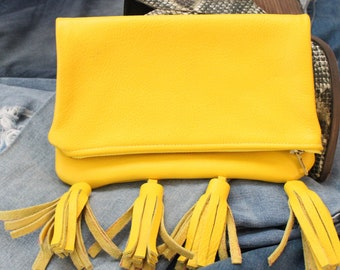 MarieLime Leather Foldover Clutch w/ Tassels