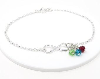 Infinity Family Birthstone Bracelet, skinny bracelet, dainty infinity, gift for mum