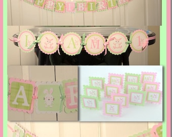 Bunny Party Package, Bunny 1st Birthday Party, Bunny Theme Light Green and Light Pink Theme, pp-1003, C-1010
