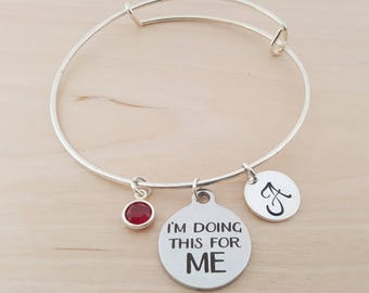 Doing This For Me Charm Bracelet - Silver Adjustable Bangle  -  Personalized Initial Bracelet - Swarovski  Birthstone Jewelry - Gift For Her