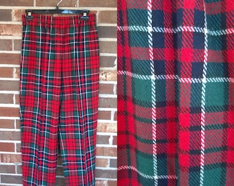 Funky 1980s Tapered Elastic Red Green Plaid Tartan Pants, 10P