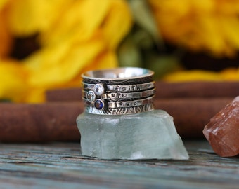 three stone Floral band spinner ring hand stamped Birthstone sterling silver spinning ring mothers fiddle fidget worry ring