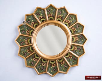 Round Wall Mirror 'Green sunflower' -  Sunburst Mirrors - Decorative Wall Mirrors ,Reverse Handpainted glass - Peruvian Vanity Mirror