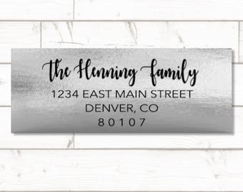Silver Foil Return address label - custom- 2 5/8 x 1 inch rectangular, silver foil label, sticker, wedding announcements - SET OF 30