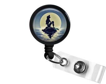 Silhouette Mermaid Photo Glass/ Bottle Cap Retractable ID Badge  Reel , Nurse Badge Reel