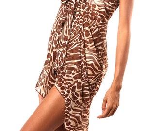 Animal Print Sarong - Wrap - Beach Wear - Beach Cover Up - Pareo - Resort Wear - Beach Skirt - Beach Wrap - Swim Coverup - Bridesmaid Favor