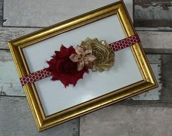 Headband Burgundy and gold size 1/3 years