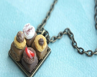 brownie sampler necklace- miniature food jewelry, chocolate brownies necklace