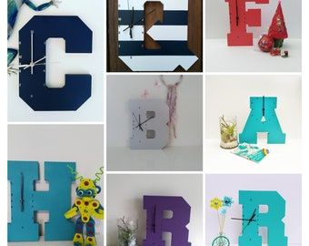 Wooden Letter Clock - A to Z - all letters are available | Kids Clock | Wall clock | Nursery Clock