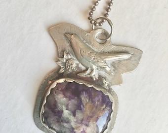 a charoite bird pendant in sterling, handmade