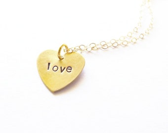 Small Gold Heart Necklace Love Jewelry Amour Pendant Charm Valentines Day Dainty Romantic Anniversary Girlfriend Wife Womens Gift For Her
