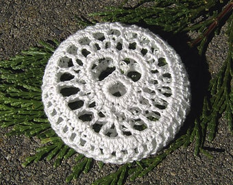 White Lacy Heart Mini Paperweight crocheted lace fiber art thread crochet over glass pebble