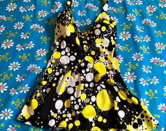 Vintage Black White And Yellow Polka Dot Psychedelic Op Art Halter Skirted Open Back Swim Suit Bathing Suit Swim Dress 1960s Jantzen