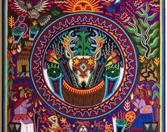 "23.5"" Huichol painting, Mexican wall art, Mexican painting, Huichol art, Mexican folk art, Native art, Mexican art, Mexican decor, 60-117"