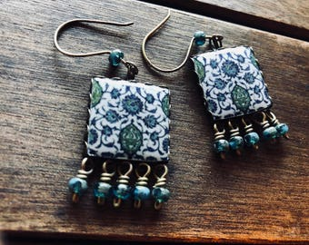 Pottery design earrings, Islamic Tile reproduction, Ethnic Jewelry, Islamic earrings, Dangle drop earrings, turquoise, Muslim jewelry, Islam