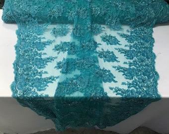 Hand Beaded Embroidered Basins Diamonds Veil Mesh Dress Wedding Decoration Aqua
