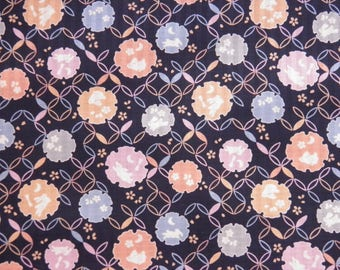 Rabbits and flowers on pattern geometric Navy blue background - 50 x 110 cm