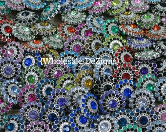 Starburst Grab Bag of Rhinestone Buttons - 21mm  Acrylic Buttons - Perfect Condition! Mixed Assortment of Colors 21 mm DIY Headband Supplies