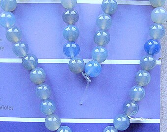 Blue Agate, 8mm, 16 inch Strand, Smooth, Round