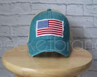 Trucker Hat - American Flag Trucker Hat in Teal