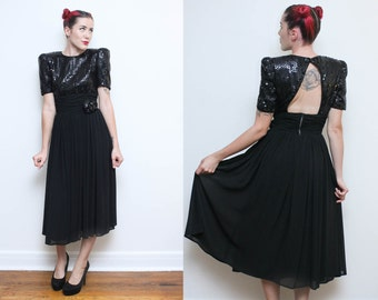 Black Sequin Dress // Fancy Cocktail Dress // 80s High Waist Cut Out Back Puffy Sleeve Evening Party Dress Size Small 7 8