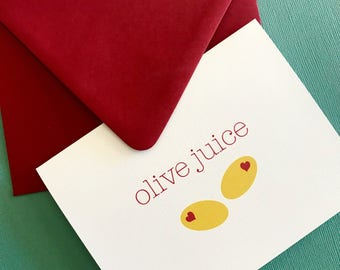 As Seen on Taste of Home Magazine // Olive Juice- love greeting card, valentines, crush, fun valentines, gift, friendship card, galentines