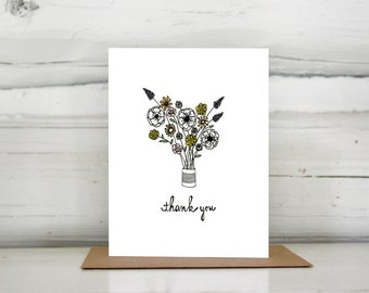 Illustrated Flower Bouquet thank you greeting card