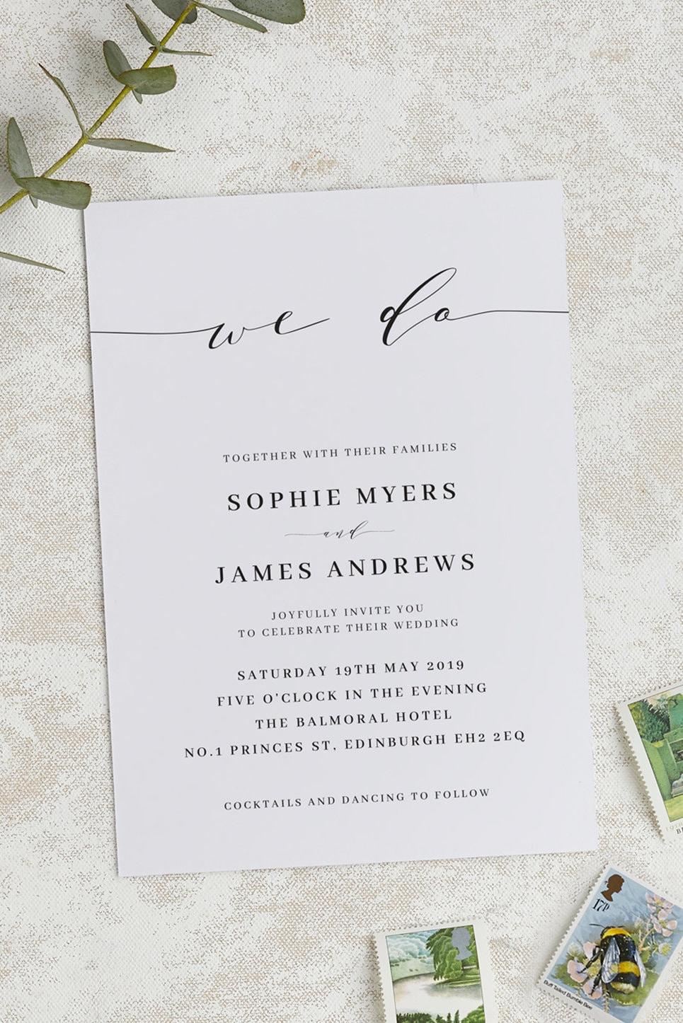Elegant Script Wedding Invitation RSVP Set Elegant