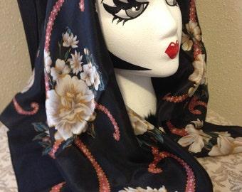 Jacqueline Ferrar 100% Black Floral Scarf