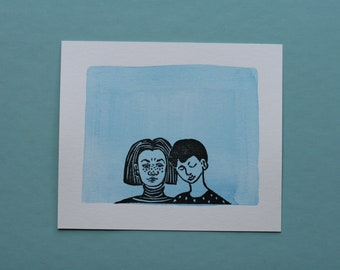 "Original block print art handprinted with water color ""Two of us"""