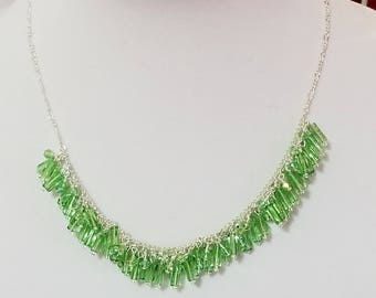 Green glass and crystal cluster necklace