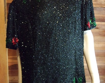 Vintage Lingerie 1980s SCALA Black Silk Beaded Top or Blouse