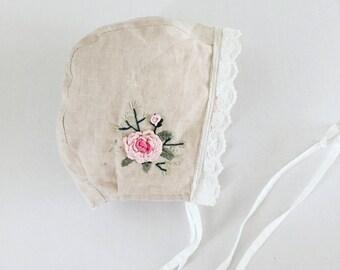 Serenity -Embroidered baby bonnet // linen bonnet/ lace bonnet.