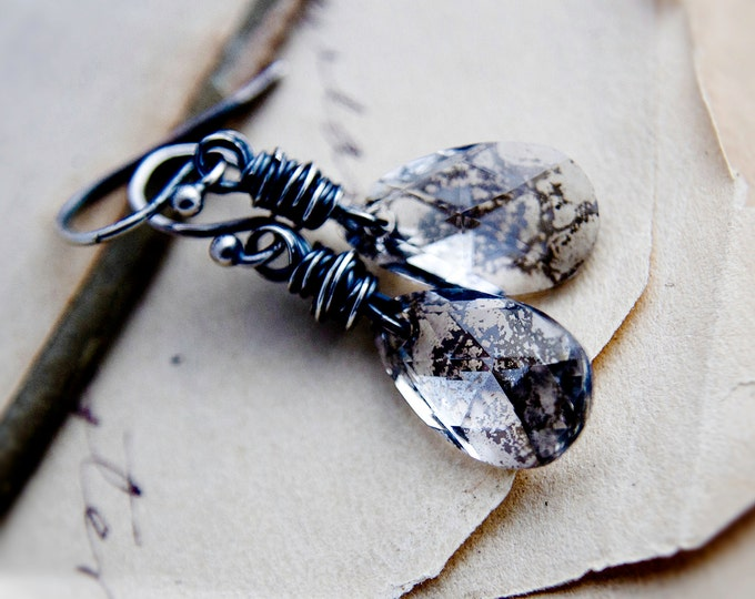 Crystal Earrings, Crystal Jewelry, Patina Earrings, Bronze, Swarovski Jewelry, Sterling Silver, Classic, Perfect Gift