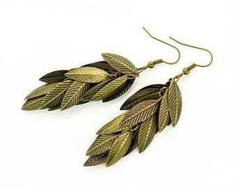Tassel earrings Chandelier earrings Long earrings Dangle earrings Leaf earrings Boho jewelry Tribal jewelry Mother day gift for women gift