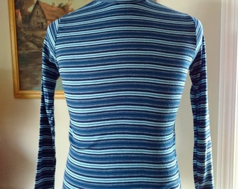 Vintage Blue Striped Turtleneck Acrylic Made in Korea by Lucerne