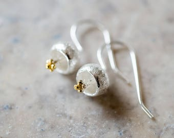 Sterling Droplet Flower Earrings, Brushed Silver Earrings in Personalized Gift Box (27E5)