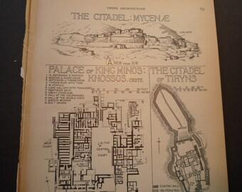 Diagram of the Citadel Mycenae Greek Architecture  -1924  print  - Great for Framing - gift for architect traveler archaeologist