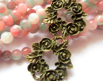 8 Jewelry Connectors antique bronze rose wreath 27mm x 24.5mm jewelry making no lead no nickel C080-AB (YY3)