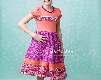 Girls Spring Dress, tween dress, spring outfit, tween, knit dress, tshirt dress, fuchsia and coral, matching sister set, by Melon Monkeys
