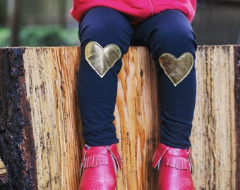 Metallic Gold Heart Patch Leggings  - Baby leggings,  Toddler leggings, Valentine's Day gift,  Toddler pants,  Baby pants -  Baby Joggers