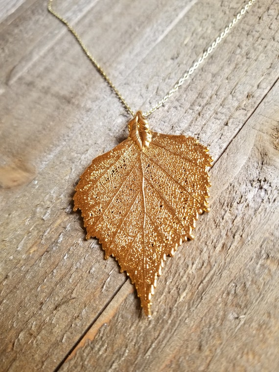 24k Gold Dipped Real Birch Leaf Choker Necklace Pendant Outdoor Rustic Nature Earth Jewelry