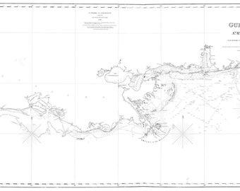 Gulf of Mexico Map - St. Marks to Galveston - White