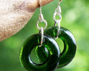 Recycled Early 1900's Olive Wine Bottle Glass Hoop Earrings